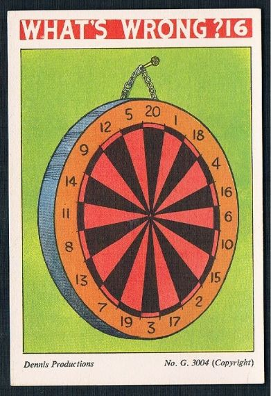 1950s Dennis productions what's wrong 16 dartboard darts trade card